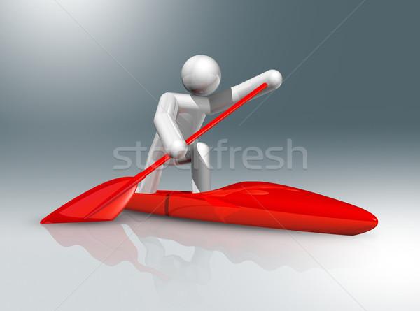 Kenu futás 3D szimbólum sportok háromdimenziós Stock fotó © daboost