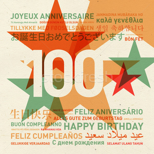 100th anniversary happy birthday card from the world Stock photo © daboost