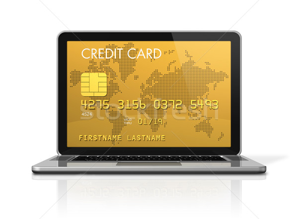 gold credit card on a laptop screen Stock photo © daboost
