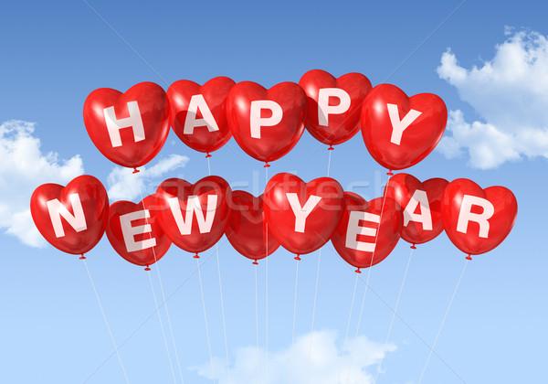 Foto stock: Feliz · ano · novo · coração · balões · vermelho · flutuante