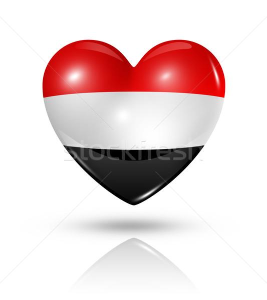 Liefde Jemen hart vlag icon symbool Stockfoto © daboost