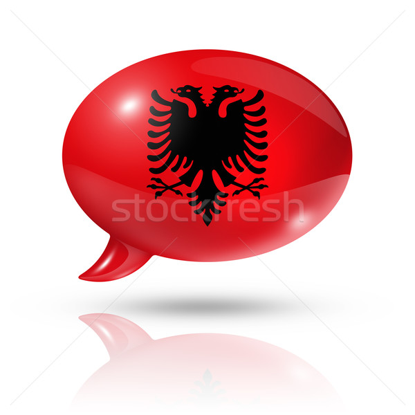 Stock photo: Albanian flag speech bubble