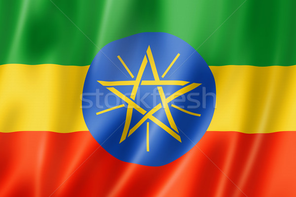 Ethiopiër vlag Ethiopië geven satijn Stockfoto © daboost