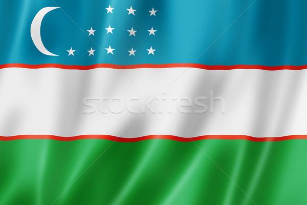 Üzbegisztán zászló háromdimenziós render szatén textúra Stock fotó © daboost