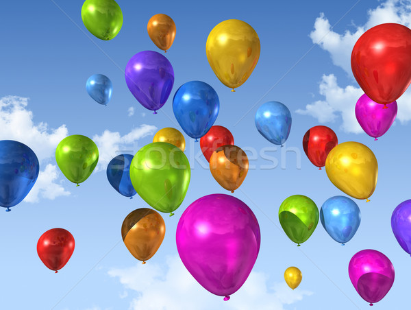 colored balloons on a blue sky Stock photo © daboost