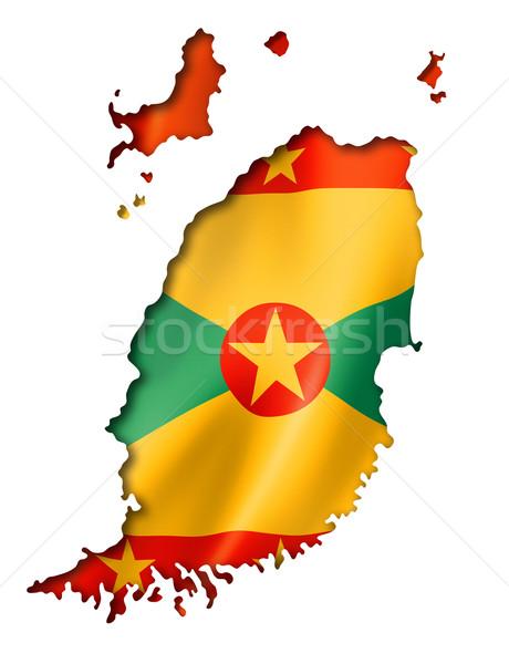Grenada zászló térkép háromdimenziós render izolált Stock fotó © daboost