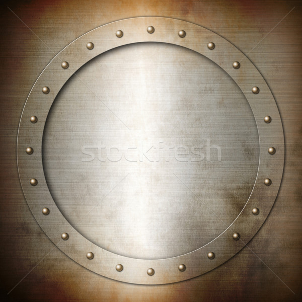 Rusty brushed Steel round frame Stock photo © daboost