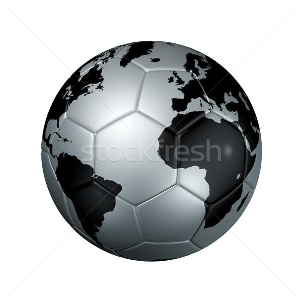 Zilver voetbal voetbal bal wereld wereldbol Stockfoto © daboost