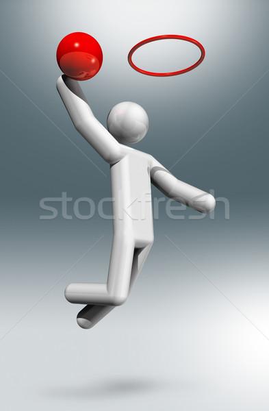 Kosárlabda 3D szimbólum sportok háromdimenziós olimpiai játékok Stock fotó © daboost