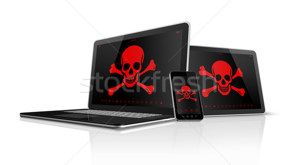 Laptop tablet pc and smartphone with pirate symbols on screen. H Stock photo © daboost