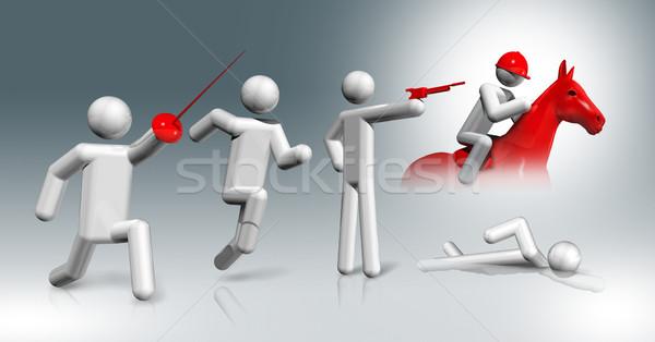 Modern 3D szimbólum sportok háromdimenziós olimpiai játékok Stock fotó © daboost