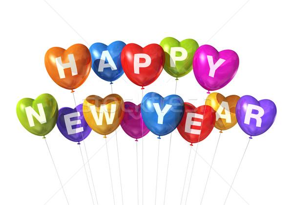 Stok fotoğraf: Renkli · happy · new · year · kalp · balonlar · yalıtılmış