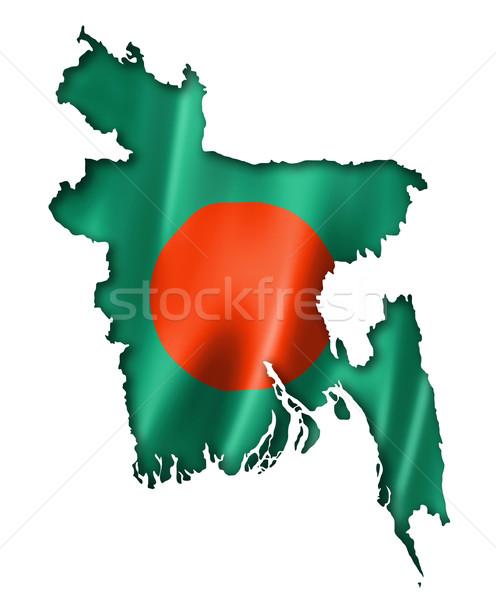Banglades zászló térkép háromdimenziós render izolált Stock fotó © daboost