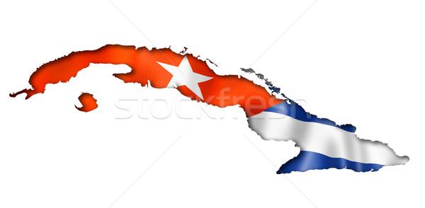 キューバの フラグ 地図 キューバ レンダー ストックフォト © daboost