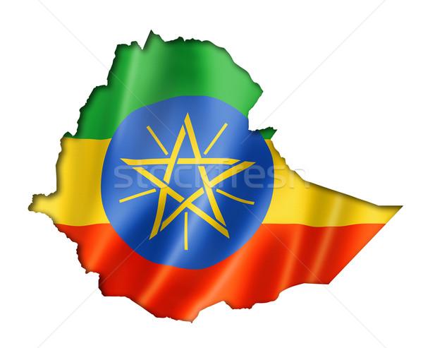 Ethiopiër vlag kaart Ethiopië geven Stockfoto © daboost
