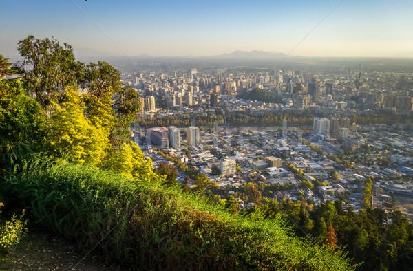 Santiago şehir Şili gün batımı iş Stok fotoğraf © daboost