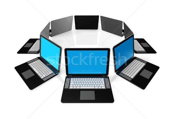 Black laptop computers isolated on white Stock photo © daboost