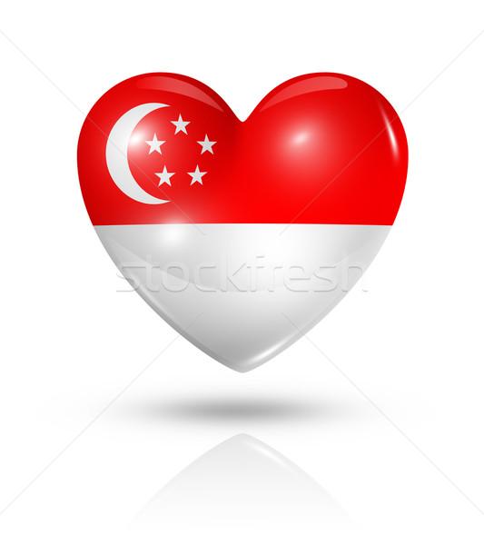 Amor Cingapura coração bandeira ícone símbolo Foto stock © daboost