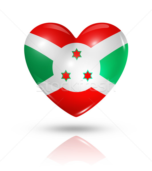 Liefde Boeroendi hart vlag icon symbool Stockfoto © daboost
