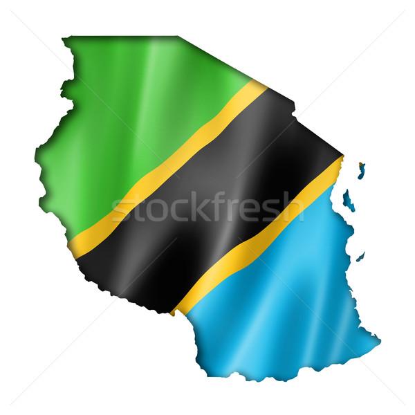Tanzánia zászló térkép háromdimenziós render izolált Stock fotó © daboost