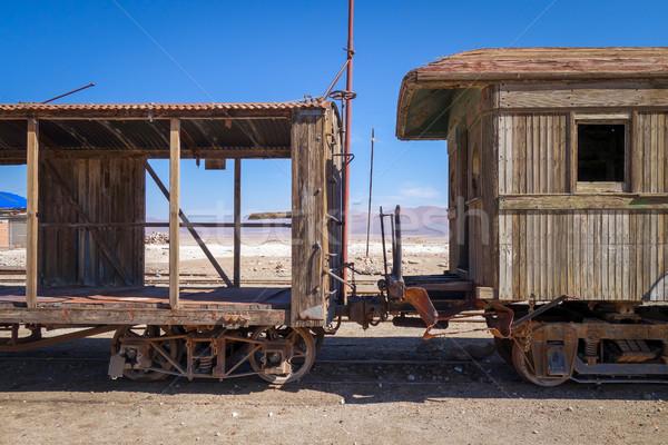 старые железнодорожная станция пустыне Южной Америке металл знак Сток-фото © daboost