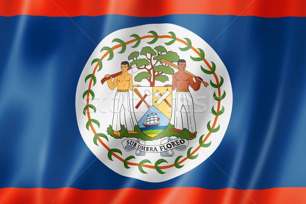 Stock fotó: Belize · zászló · háromdimenziós · render · szatén · textúra