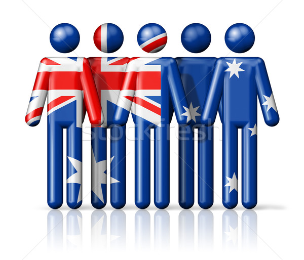 Flag of Australia on stick figure Stock photo © daboost