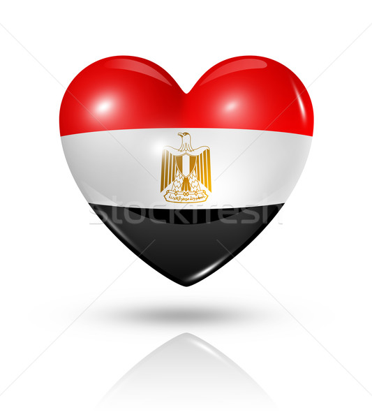 Love Egypt, heart flag icon Stock photo © daboost