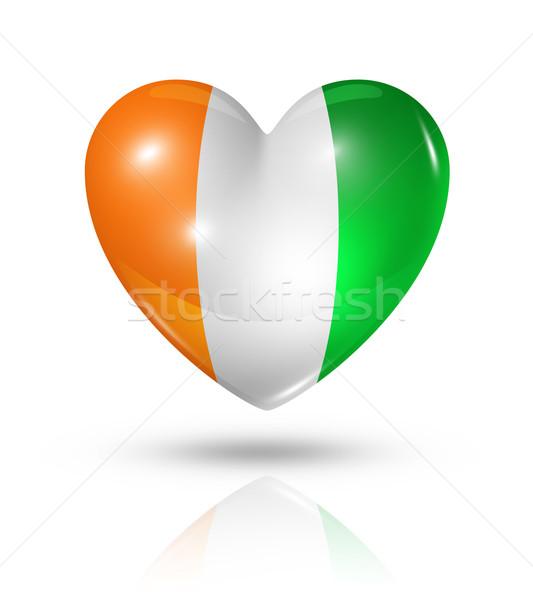 Szeretet Elefántcsontpart szív zászló ikon szimbólum Stock fotó © daboost