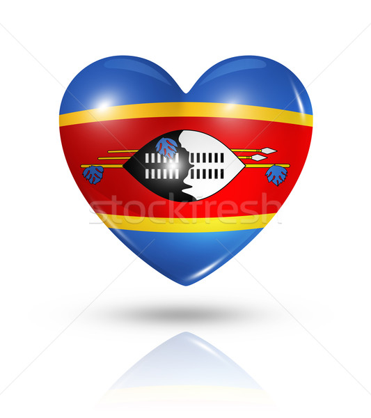 Love Swaziland, heart flag icon Stock photo © daboost
