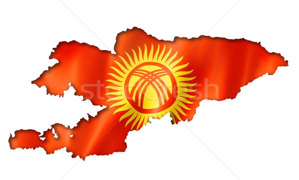 Kırgızistan bayrak harita üç boyutlu vermek yalıtılmış Stok fotoğraf © daboost