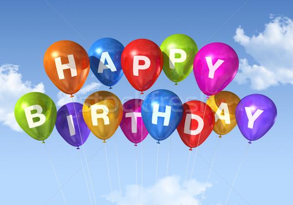 Foto stock: Feliz · aniversário · balões · céu · nuvens · fundo