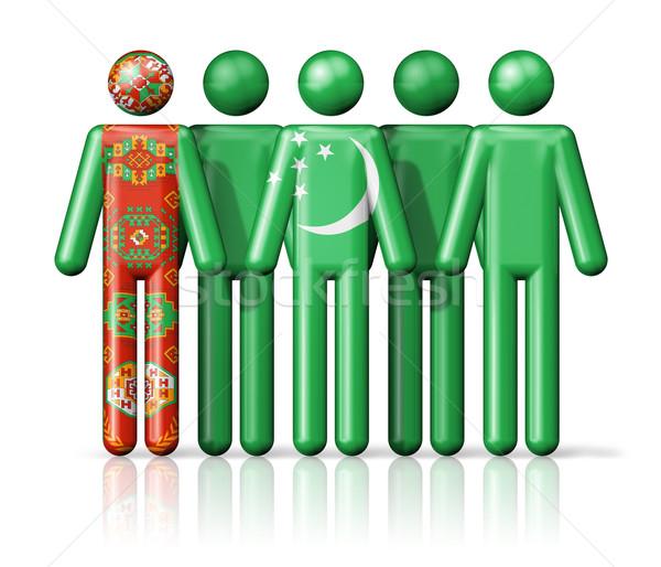 Zászló Türkmenisztán pálcikaember társasági közösség szimbólum Stock fotó © daboost