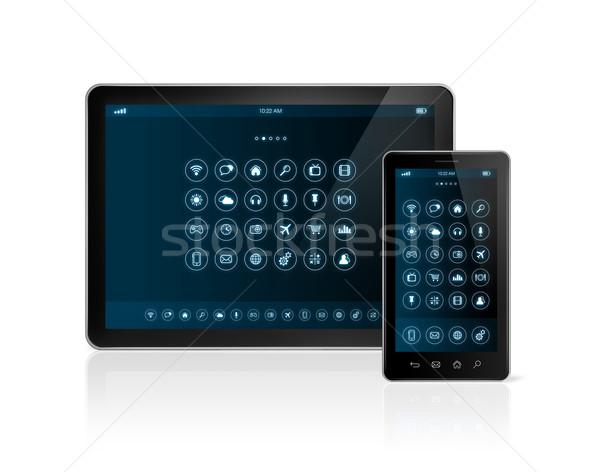 Digitale smartphone apps iconen interface Stockfoto © daboost