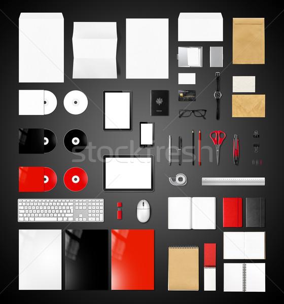 Termékek branding vázlat sablon fekete izolált Stock fotó © daboost