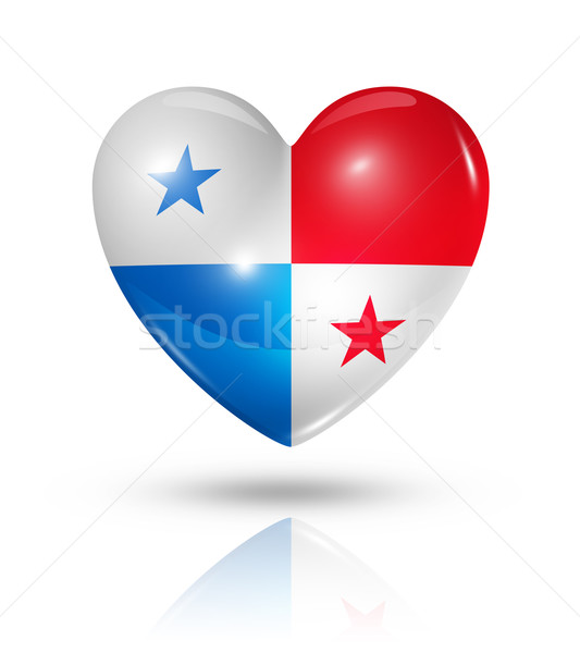Szeretet Panama szív zászló ikon szimbólum Stock fotó © daboost
