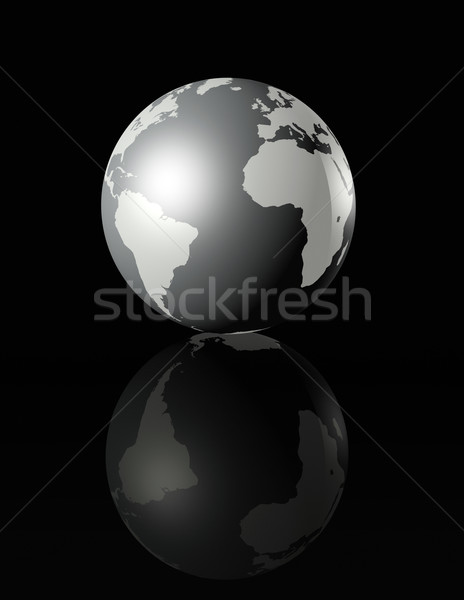 silver glossy globe on black background Stock photo © daboost