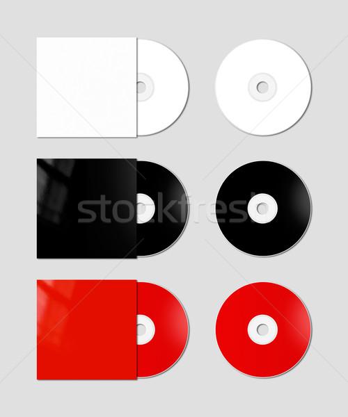 Cd şablon beyaz siyah kırmızı Stok fotoğraf © daboost