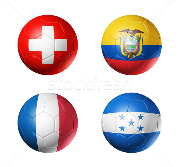 Stockfoto: Brazilië · wereld · beker · 2014 · groep · vlaggen