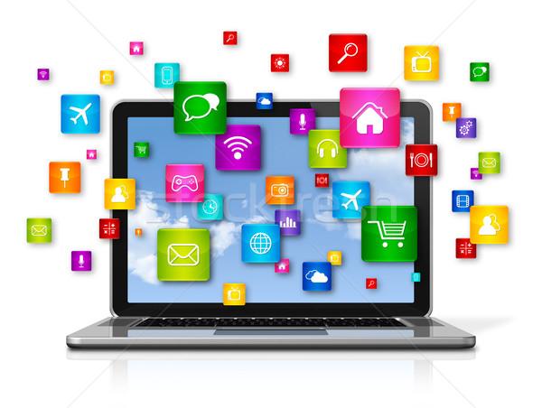 Laptop computer vliegen apps iconen 3D geïsoleerd Stockfoto © daboost