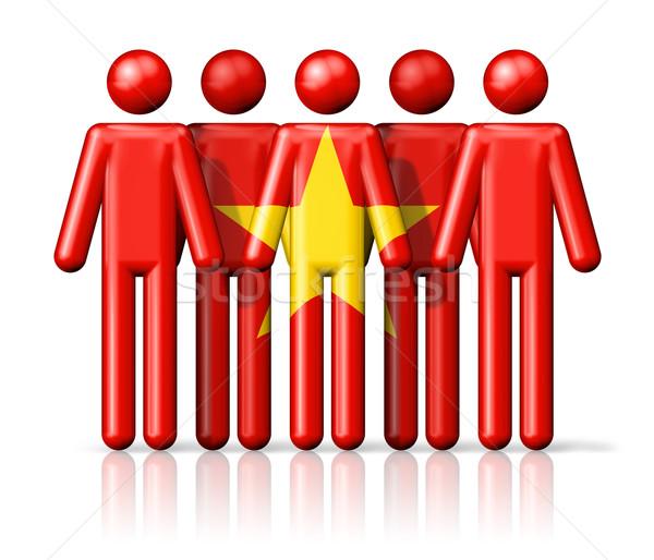 флаг Вьетнам stick figure социальной сообщество символ Сток-фото © daboost