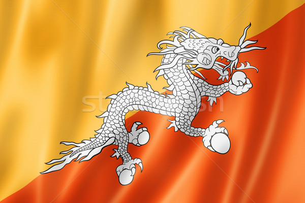 Butão bandeira tridimensional tornar cetim textura Foto stock © daboost