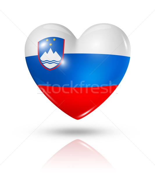 Amore Slovenia cuore bandiera icona simbolo Foto d'archivio © daboost