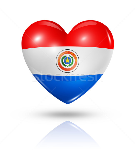 Love Paraguay, heart flag icon Stock photo © daboost