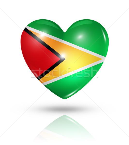 Liefde Guyana hart vlag icon symbool Stockfoto © daboost