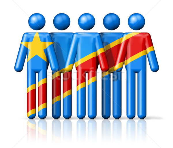 Flag of Democratic Republic of the Congo on stick figure Stock photo © daboost