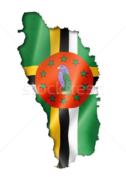 Dominica bandeira mapa tridimensional tornar isolado Foto stock © daboost