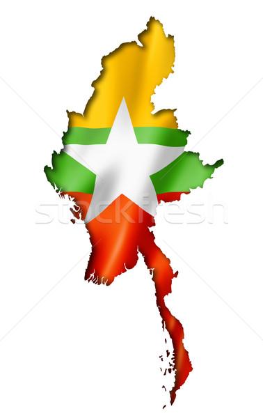 Birma Myanmar vlag kaart geven Stockfoto © daboost