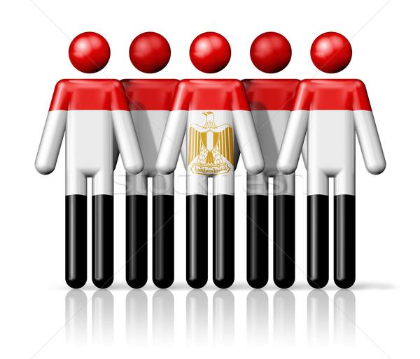 Flag of Egypt on stick figure Stock photo © daboost
