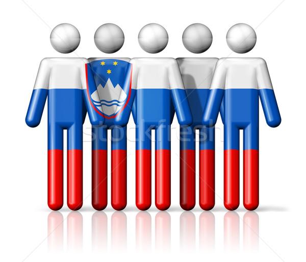 Zászló Szlovénia pálcikaember társasági közösség szimbólum Stock fotó © daboost